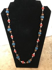 """Blue and Red Long Necklace - 32"""""""