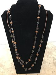 """Very Long Earth Tone Necklace - 54"""""""