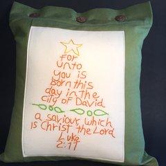 Luke 2:11 Pillow Cover, Green and Orange