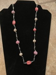 """Pink and Tangerine Necklace - 24"""""""