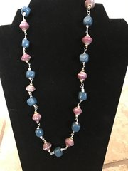 """Blue Clay Beads With Berry Paper Beads - 28"""""""