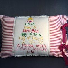 Luke 2:11 Pillow Cover, Red Stripes