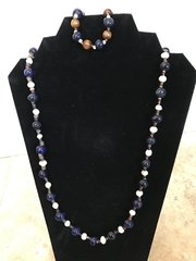 Navy Blue and Pearls Set - 30""