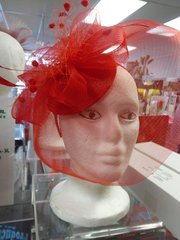 Red Fascinator with Veil #3506