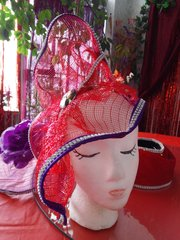 X-Large Red and Purple Fascinator
