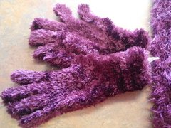 Purple Thick Fuzzy Gloves