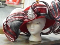 X Large Red Satin Hat with Black Netting and Brooch