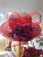 Medium Wide Purple Hat with Red Mesh