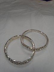 1 and 2 Strain Rhinestone Bracelet Set