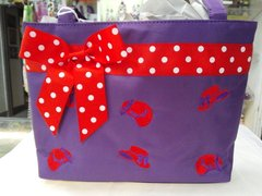 Purple Purse with Red Hats and Polka Dots