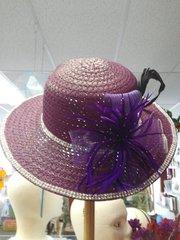 Medium Wide Brim Purple Hat with Rhinestones