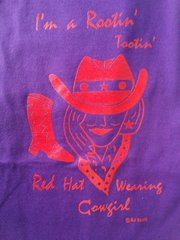 Rootin Tootin Red Hat Cowgirl T-Shirt #1328