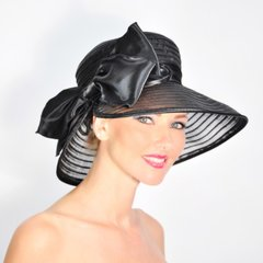 Fancy Black Mesh Hat with Satin Bow #3678