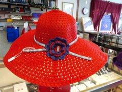 Wide Red Straw Hat #1982