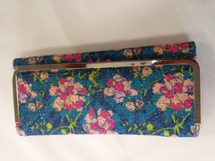 Blue Wallet with Flowers