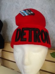 Red w Black Detroit Knit Cap 5877