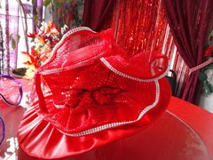 X-Large Red Hat with Mesh and Flower