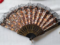 Brown and Orange Floral Fan