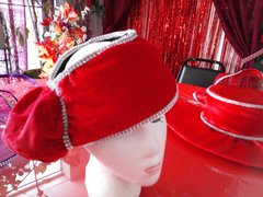 Red Open Top Hat with rhinestones