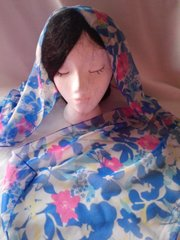 Blue and Pink Floral Design Scarf #1352