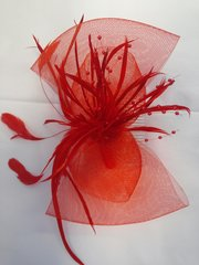 Red Fascinator with Mesh #3628