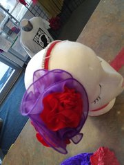 Red and Purple Chiffon Rhinestone Headband