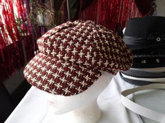 Brown and Beige Houndstooth Newsboy
