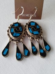 Black and Blue Oval Confetti Earrings