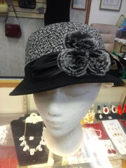Black Winter Hat with Fur Balls #3504