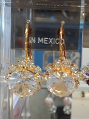 Clear Earrings with Gold #3154