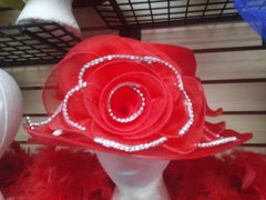 Medium Red Organza Hat with Rhinestoned Rose