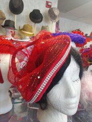 Red Mesh Fascinator with Comb #3122