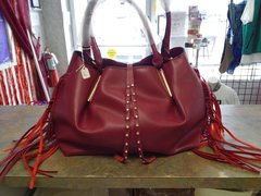 Dark Red Purse with Fringes #2813