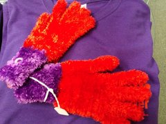 Red and Purple Fuzzy Winter Gloves