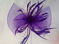 Purple Fascinator with Mesh #3629