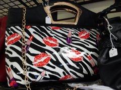 Black Zebra Print Purse with Lips