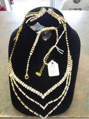 4 PC Rhinestone/Gold Necklace Set