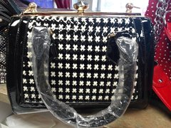 Black with White Patent Leather Purse #2778