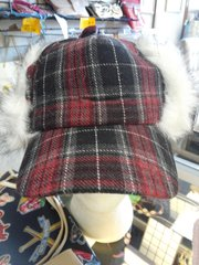 Burgundy and Black Plaid Russian Style Hat #2660