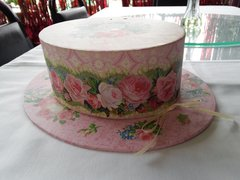 Pink and Beige Small Hat Box
