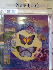 Butterfly Design Thank You Note Card #2682
