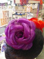 6 inch Purple Satin and Chiffon Flower #2796