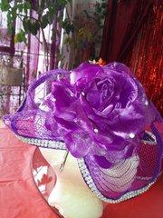 Purple Flower Fascinator with Rhinestones
