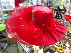 X-Large Red Satin Hat with Feathers,Mesh and Rhinestones