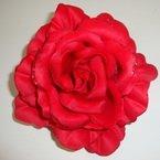 4 inch Red Silk Flower with Glitter