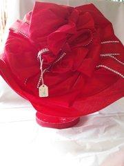 Wide red flower hat