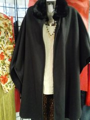 Black Shawl with Faux Fur Collar