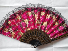 Red, Fuchsia, and Yellow Floral Fan