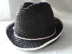 Black w White Crochet Fedora