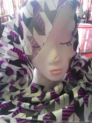 White Houndstooth Scarf #2997